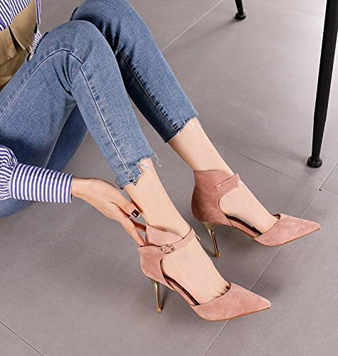 Band Temperament Heel Lady Work Shoe Heels 38 Pink Word Suede One Elegant 5Cm Leisure MDRW Fashion 7 Spring Elegant Single Hollow Pointed Fine gnxwCqU