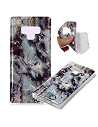 Marble Patterns Design Cover for Samsung Galaxy Note 9, MOIKY Slim Soft Skin Touch Protective in TPU Bumper Gel Case Anti-Scratch Shock Resistant Shell for Samsung Galaxy Note 9 - Gray black