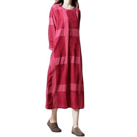 Lonshell Mujer Vestidos Talla Extra Algodón Enrejado Y Lino Mangas largas Suelto Largo Vestir Vendimia Tartán