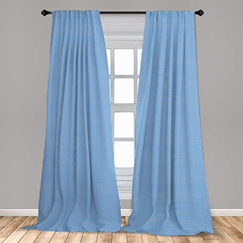 """Ambesonne Checkered Window Curtains, Monochrome Gingham Checks Classical Country Culture Old Fashioned Grid Design, Lightweight Decorative Panels Set of 2 with Rod Pocket, 56"""" x 84"""", Blue White"""