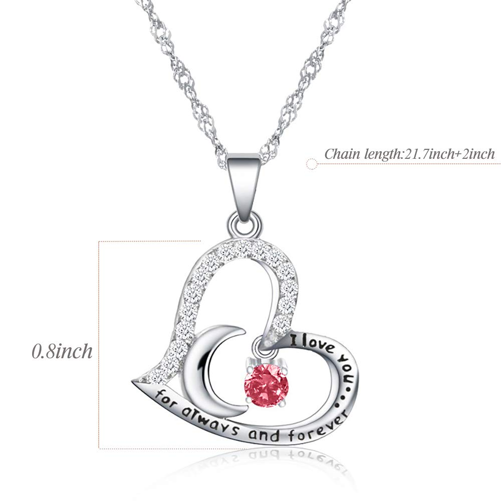 Funny 50th Birthday Gifts for Women 50th Birthday Gifts for Women 50 Year Old Birthday Gifts for Women Stainless Steel Womens Light Red Zircon Heart Necklace