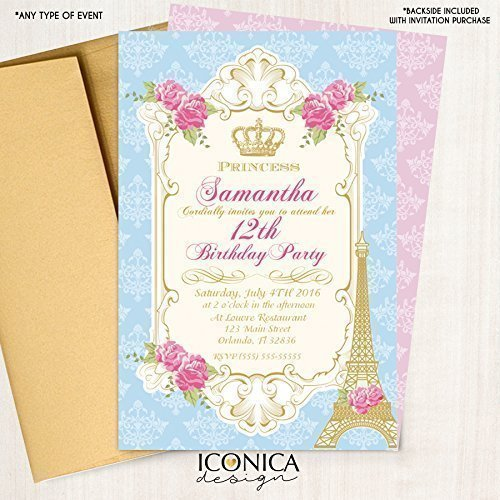 15 Inv Vintage French Party - Paris - Victorian - Pink Royal Princess Invitation Marie Antoinette Printed or Printable File Free Shipping - Glossy Papper