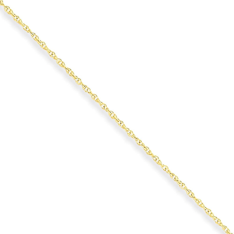 """Unisex Children 10K Yellow Gold Lite 0.8MM Lite Rope Chain Necklace,14"""""""