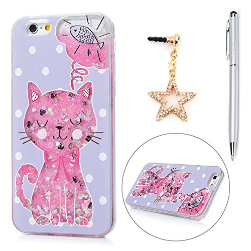 iPhone 6 Plus Case, iPhone 6S Plus Case, KASOS Colorful Painting Embossed Cute Pink Cat Fish Soft TPU Frame Purple PC Case Bling Heart-Shaped Quicksand Slim Fit Cover & Dust Plug & Stylus - (Embossed Hearts Frame)