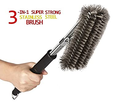 "Kacebela BBQ Grill Brush, 18"" Grill Brush, 2 Basting Brushes, Best Grill Brush with Stainless Steel Woven Wire Bristles, Heavy Duty Grill Brush, 360° cleaning BBQ Brush Barbecue Brush by kacebela"