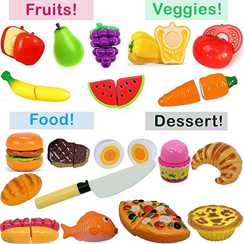 Pretend Play Food Set for Kids -Includes Fun Game Bonus- Toy Cutting Fruits, Vegetables, Bread, Hamburger, Fish, Egg, Meat, Pizza, Ice Cream - Toddlers and Kids kitchen Toy - Play Kitchen Accessories ()