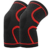 Hausbell Knee Sleeve, Knee Brace,Knee Compression Sleeve Support for Arthritis, ACL, Running, Pain Relief, Injury Recovery, Basketball, Sports, Men and Women