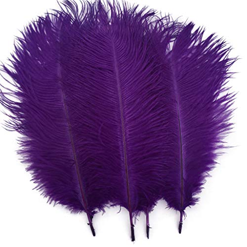 Shekyeon Purple 10-12inch 25-30cm Ostrich Feather Home Decoration DIY Craft Pack of -