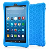 BLUEWIND Silicone Case Case Fire HD 8 2017, Anti Slip Light Weight Shockproof Soft Silicone Protective Case Cover All-New Fire HD 8 Tablet Alexa (7th Gen 2017 Model) Tablet Blue (Blue)
