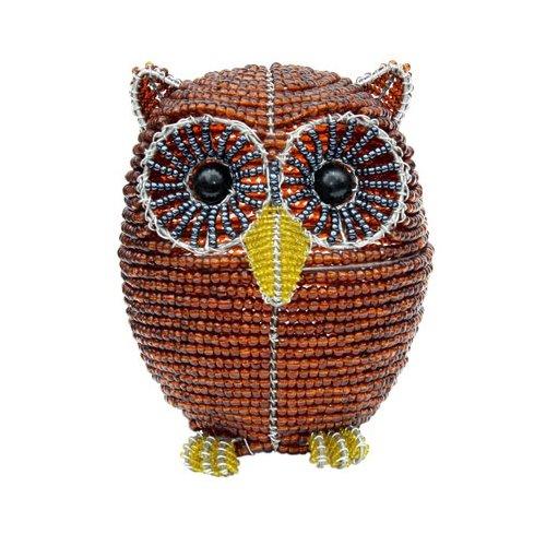 Grass Beadworx (Grass Roots Creations Owl Beadworx Sculpture, Small Brown)