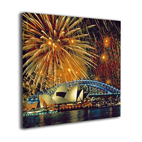 Jaylut Square Frameless Painting Print Artwork Sydney Opera House Drawing Picture Wall Decor for Home Office 16