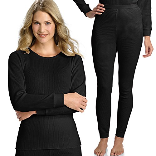 Hanes Everyday Women's Thermal Set (Long Sleeve Crew and Long Johns) - Black - Large