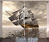 Ambesonne Ocean Curtains, 3D Style Pirate Ship Sea Historic Vessel Cloudy Sky Voyage Exploration Theme, Living Room Bedroom Window Drapes 2 Panel Set, 108W X 63L Inches, Grey Light Coffee