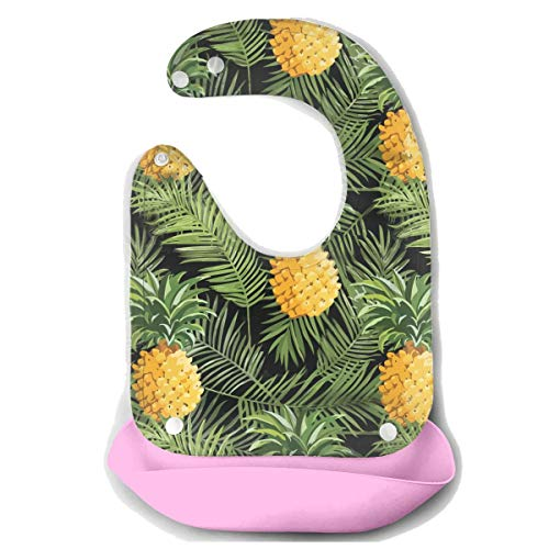 Pineapple Palm Leaf Silicone Bibs for Babies, Water Ressistant Drooling & Teething Bib Comfort-Fit Fabric Neck Baby Bibs for Girls Boys with Adjustable Snaps (Fabric Jasper Necklace)