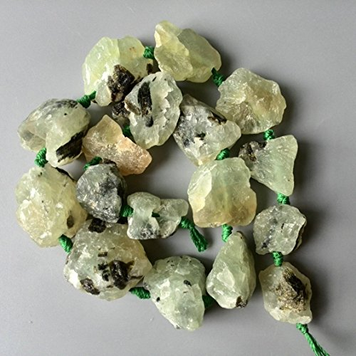 Natural Prehnite Nuggets Beads Rough Raw Green Prehnite Stone Beads Center Drilled Supplies for jewelry making