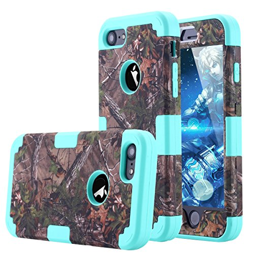 iPhone 7 Case, LONTECT Camouflage Tree Hybrid Heavy Duty Shockproof Case with Dual Layer [Hard PC+ Soft Silicone] Impact Protection for Apple iPhone 7 - Tree Camo/Teal