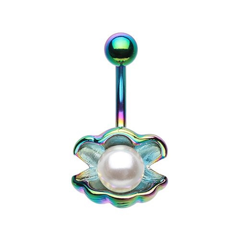 Navel Ring Ariel's Shell with Pearl 14g Ocean Belly Button Ring B018JMFBVS_US