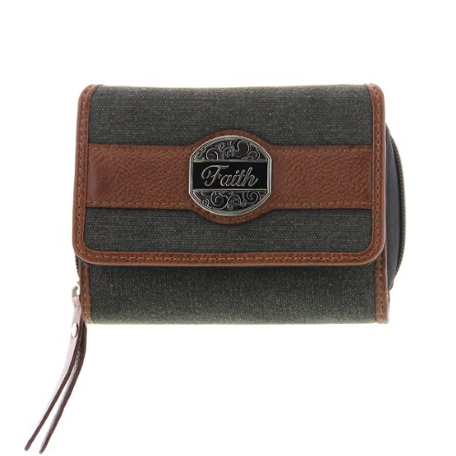 "Black and Tan Fashion Canvas Wallet w/""Faith"" Badge, Bags Central"