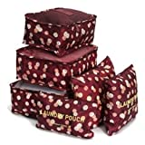 Travel Storage Bag - SODIAL(R)6Pcs Waterproof Clothes Travel Storage Bags Packing Cube Luggage Toiletry Bag Organizer Pouch Home Organization Wine red