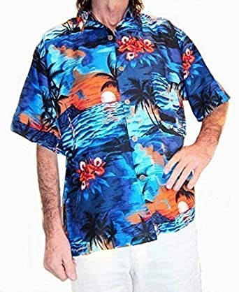 Chillón Camisa Hawaiana, Azul con Palmeras / Naranja Puestas de Sol, M, 50 Pulgadas: Amazon.es: Ropa y accesorios
