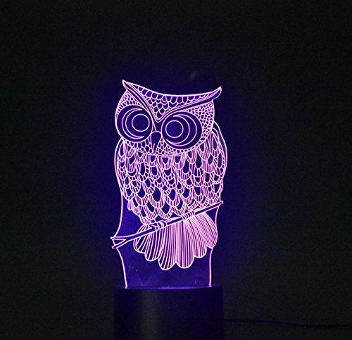 3D Lamp Optical Illusion Night Light,Touch LED Table Desk Lamp 7 Color Changing USB Charger Powered Touch Switch Desk Night Light for Kids Friends Gift (Owl)