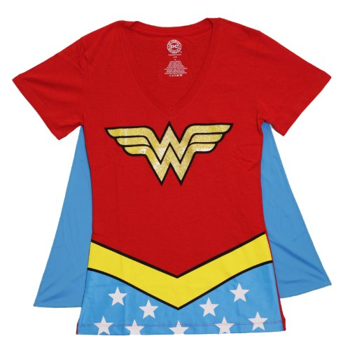 DC Comics Wonder Woman Glitter Juniors Red V-neck Tee (X-Large)]()