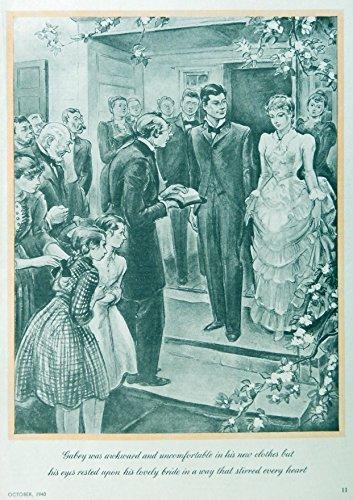 Della T. Lutes, 40's Full Page B&W Illustration, print art (Wedding) Original Vintage 1940 Rare, Woman's Day Magazine Art - Vintage Womans Day Magazine