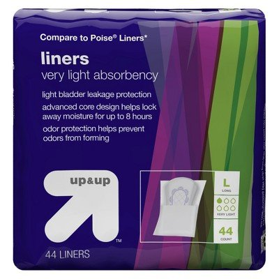 Light Absorbency Incontinence Liners-Long- 44ct-Up&Up153; (Compare to Poise Liners) MULTI-COLORED