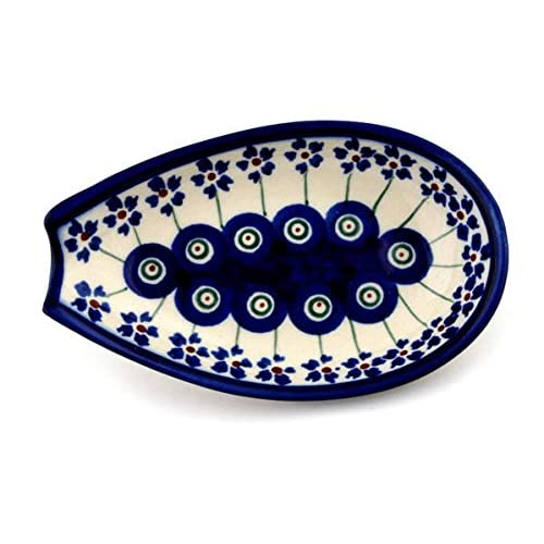 Polish Pottery Spoon Rest 5-inch Flowering Peacock