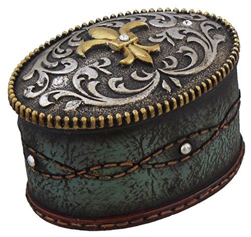 Fleur De Lis Jeweled Belt Buckle Trinket Box - Turquoise Tooled Leather Look, Rhinestones - Silver -