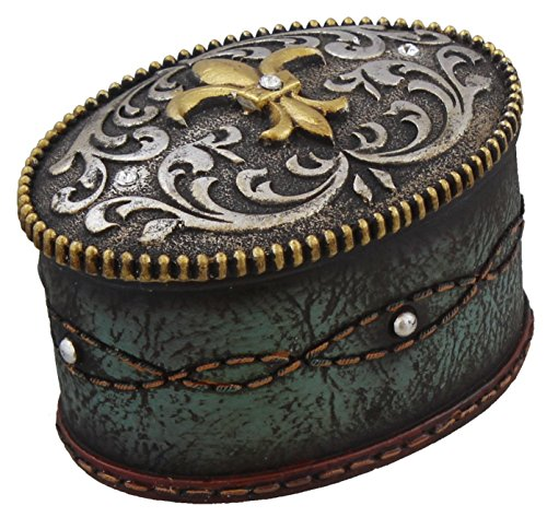 Fleur De Lis Jeweled Belt Buckle Trinket Box - Turquoise Tooled Leather Look, Rhinestones - Silver Gold