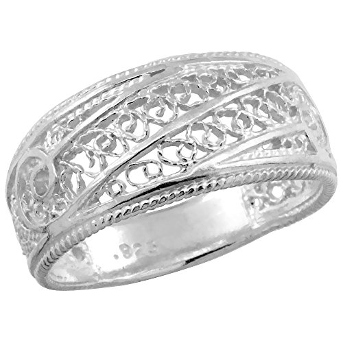 Sterling Silver Filigree Dome Ring, 3/8 inch, size 8
