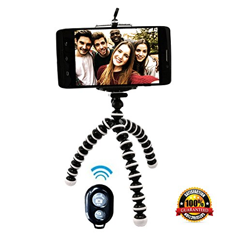 Flexible Tripod Stand with Bluetooth Remote for iPhone Android Galaxy Samsung Smartphone & Camera Best Quality Compact Lightweight Mini Inexpensive