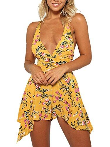 Women Summer Yellow Deep V Neck Floral Print