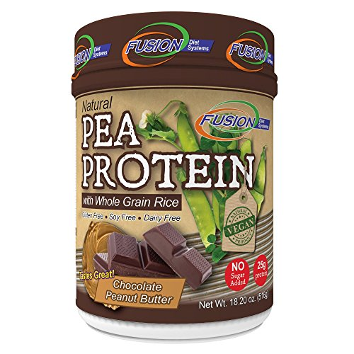 Fusion Diet Systems + Weight Loss Formula + Vegan Friendly + 100% Organic Plant Based Pea Protein Powder + 25g Organic Plant Based Protein Per Serving + 2017 Improved Chocolate Peanut Butter Flavor