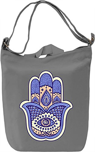Hamsa Hand Borsa Giornaliera Canvas Canvas Day Bag| 100% Premium Cotton Canvas| DTG Printing|