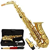 Marketworldcup- Professional Alto Eb Saxophone Sax Gold w/ Case Mouthpiece & Accessories