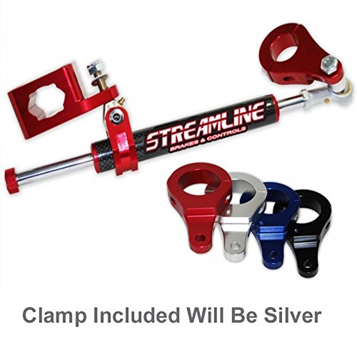 Streamline 11 Way Steering Stabilizer Reb. Carbon Suzuki LTR450 06-11 Silver by Streamline