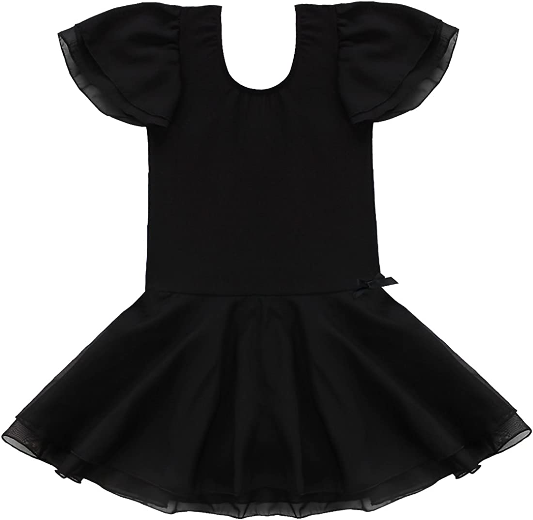 iixpin Maillot Infantil de Ballet Patinaje Vestido de Danza con Lentejuelas Leotardo Gimnasia Espalda Cruzada Body con Volantes Traje Bailarina 4-14 A/ños