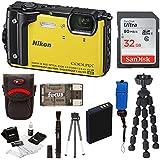 Nikon Coolpix W300 Digital Camera (Yellow) with 32GB SD Card & Accessory Bundle