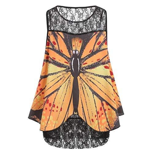 Bsjmlxg Fashion Womens Sleeveless Lace Butterfly Print Overlay Plus Size Tank Top Basic Daily Shirt Blouse Yellow ()