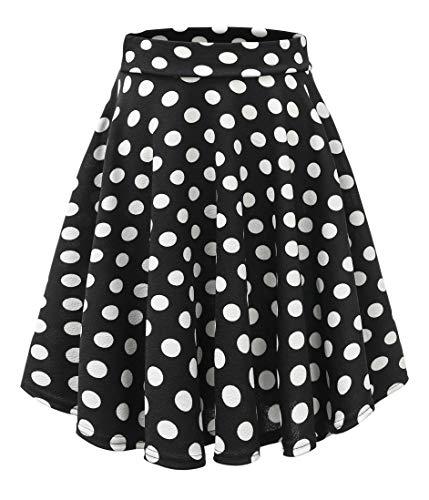 Urban CoCo Women's Basic Versatile Stretchy Flared Casual Mini Skater Skirt (XL, Long-5)