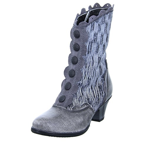 0463A Knopfleiste Grau Grey Schwarz Weiß Trichterabsatz Silber Stiefel Stiefelette Damen Simen dw4qRSd