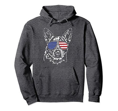 Unisex Proud Australian Cattle Dog America Flag Pullover Hoodie dog Large Dark Heather ()