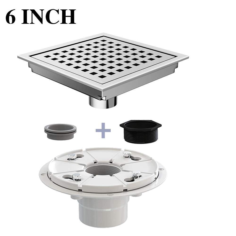 Ushower Square Drain for Shower 6 Inch with Drain Base Flange, Grate Cover Square Floor Drain Stainless Steel Brushed Nickel with Threaded Adapter, Rubber Coupler, Hair Strainer for Bathroom Kitchen