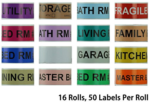 800 Home Moving Labels - Colored Label Supplies for Boxes, Packing & Box Stickers (16 Rolls, 4 Bedroom House) with 1 Empty White Label Roll for Customization (Bedroom 1)