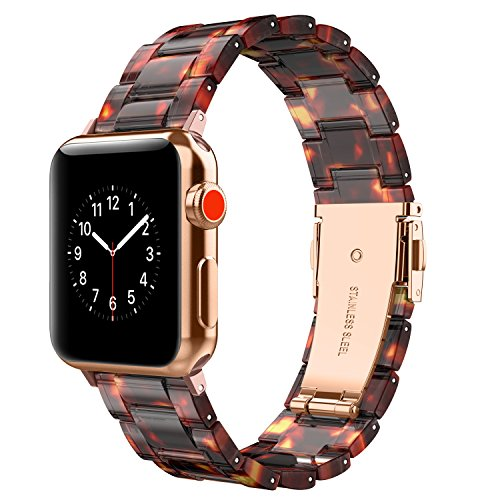 Wearlizer Compatible with Apple Watch Band 42mm 44mm Womens iWatch Lightweight Resin Wristband Replacement Bracelet Mens Cool Sport Strap with Metal Steel Clasp Series 4 3 2 1-Deep Rose Gold+Tortoise