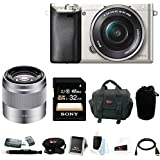 Sony Alpha a6000 24.3 Megapixel Mirrorless Digital Camera with Sony 50mm Lens and Sony 32GB SDHC Accessory Bundle (Silver)