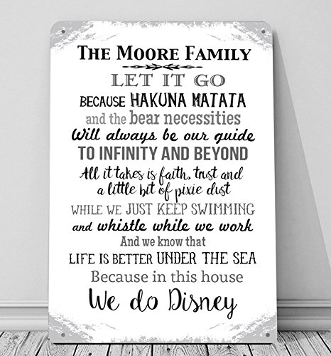personalised in this house we do disney a4 metal sign plaque wall