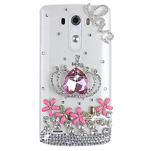LG G Flex 2 Bling Case - Fairy Art Luxury 3D Sparkle Series Heart Crown Flowers Floral LOVE Crystal Design Back Cover with Soft Wallet Purse Red Cloth Pouch - - D&g Sunglasses Cheap